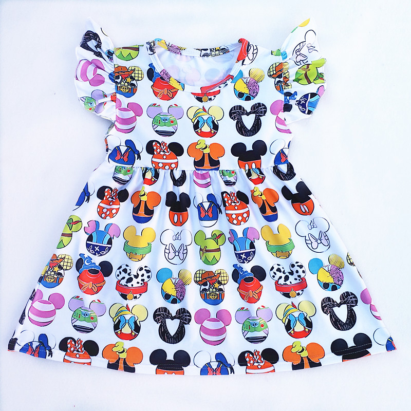 2018 Hot Selling Baby Girls Dresses Summer Clothes Cute Cartoon Mickey Head Printed Milksilk Flutter Sleeve Children Infant Dres tiered flutter sleeve top