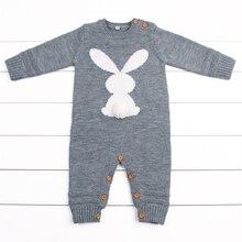 Купить с кэшбэком Baby Girl Clothes Rabbit Knitted Newborn Bebes Rompers Jumpsuits Long Sleeve Infant Boy Bunny Overalls Children's Animal Pajamas