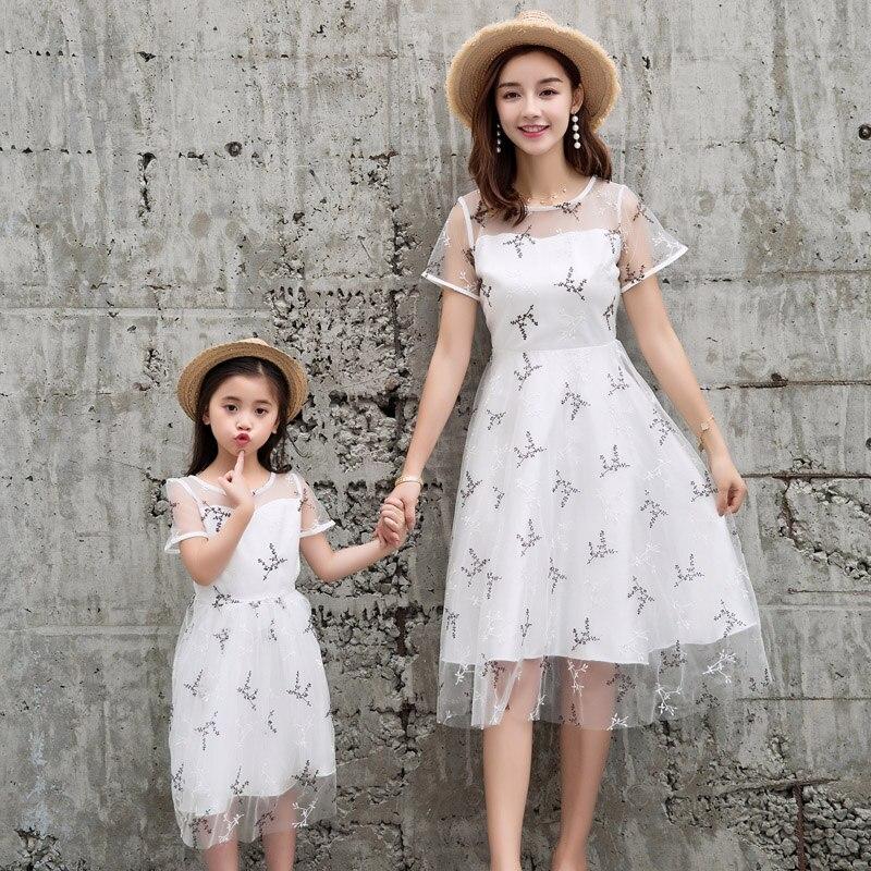 Famille correspondant robes maman fille vêtements été Slim robe 2019 Slim dentelle robe fille mère vêtements heureux