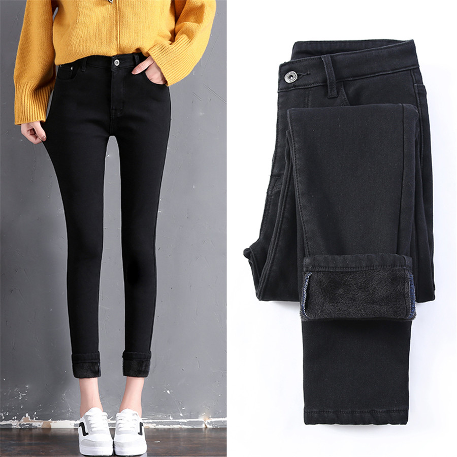 Winter Jeans For Women Thick Flocking High Waist Elastic Boyfriend Denim Pencil Pants Skinny Female Trousers Stretch Jeans