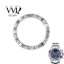 Оптовая продажа, высококачественные Серебристые часы Rolamy из нержавеющей стали 316L с черными надписями, 38,6 мм, Безель для часов DAYTONA 116500   116520