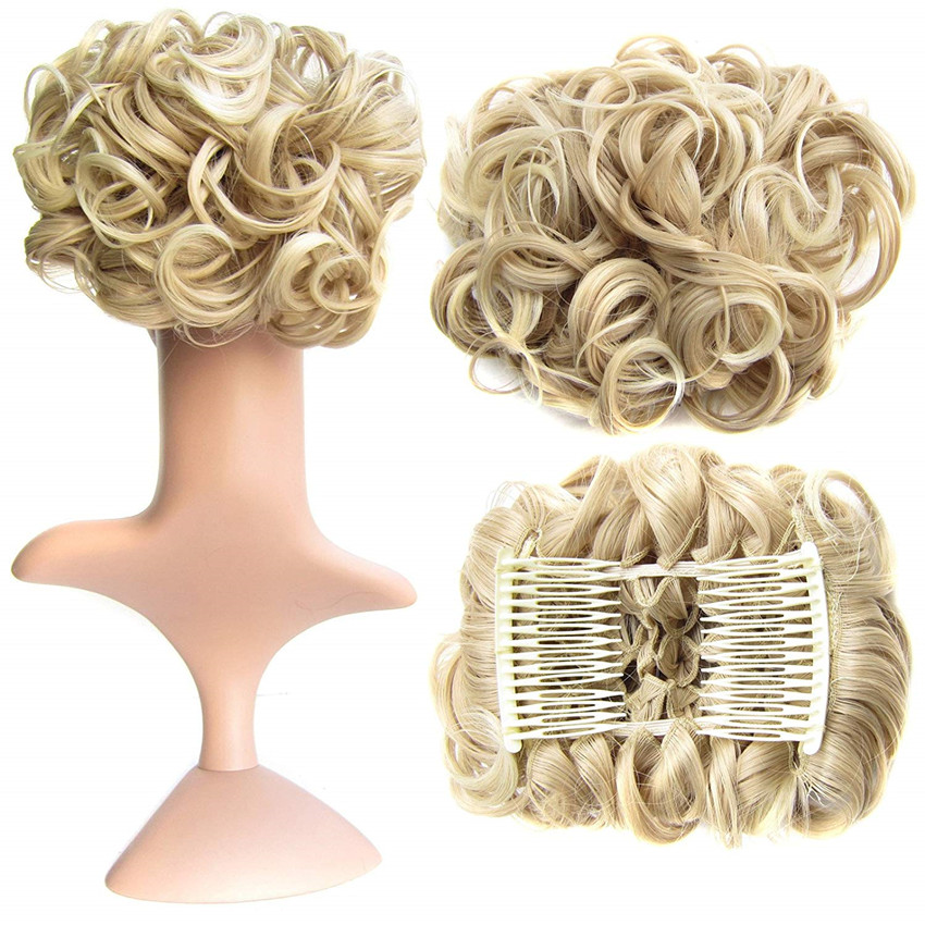 Gres Heat Resistant Fiber Chignon Tail With Comb Fixed Curly Women Brown Bun Clip-in Puff Femme Hair Piece For Brides