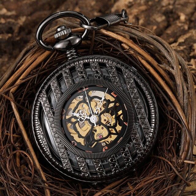 Full Black Hand-Winding Mechanical Pocket Watch Vintage Skeleton Hollow Dial Fob