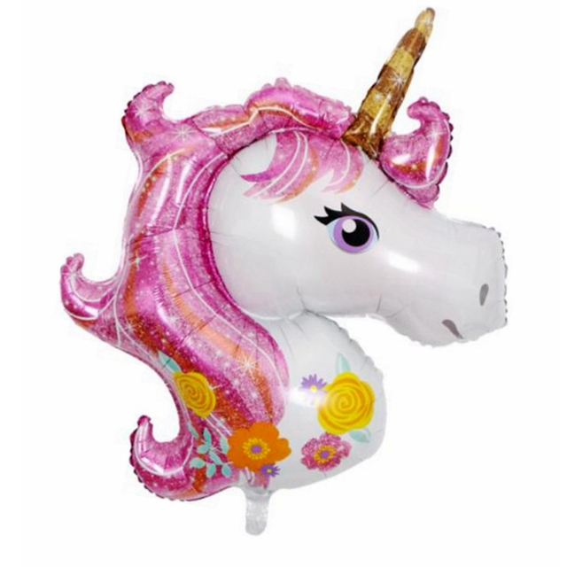 cartoon small size pink color unicorn theme foil beautiful horse balloon kids favor children birthday party