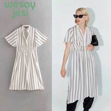 Casual Vintage Sundress Women Summer Dress 2019 Boho Sexy Button Striped Floral Beach Female