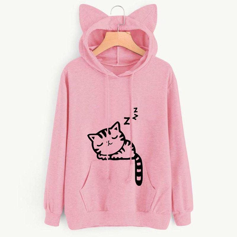 2019 Autumn Winter Hooded Hoodies Women Kawaii Cat Ear Loose Casual Streetwear Long Sleeve Warm Outerwear Pullover Sweatshirts