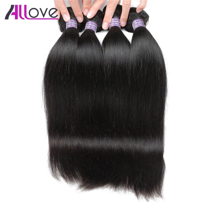 Allove Малайзии Прямые Человеческие волосы ткань 4bundles натуральный Волосы Remy расшир ...