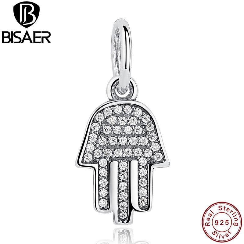 925 стерлингового серебра символ защиты ясно CZ кулон EMP Шарм fit Пан браслет Палм-образный Хамса серьги подарок HJS048