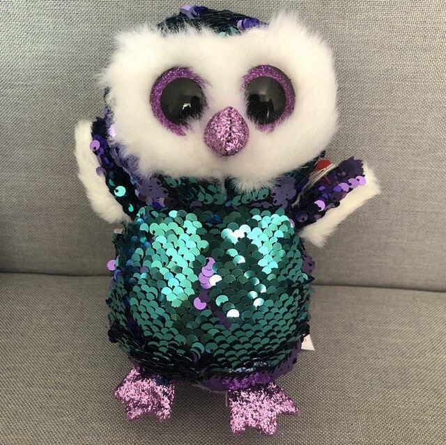 Ty Beanie Boos 10 25cm Moonlight Purple Sequin Owl Plush Large Big