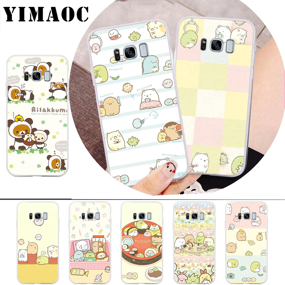 Fitted Cases Humor Yimaoc Sumikko Gurashi Rilakkuma Soft Case For Samsung Galaxy S10 S10e S9 S8 A6 A8 A9 Plus S7 Edge Note 8 9 Carefully Selected Materials