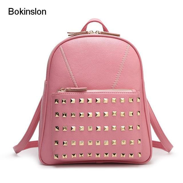 Bokinslon Fashion Girl Backpack Cow Split Leather Leisure Rivets ...