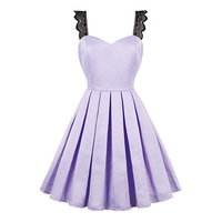 Sisjuly Summer 1950s Vintage Dresses Women Strapless Style Light Purple Sexy Lace Spaghetti Strap Dress 2017