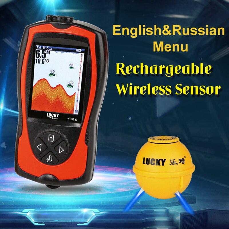 GLÜCK FF1108-1CWLA Wiederaufladbare Wireless Fishfinder Sonar Russische Sprache Sensor 45 Mt Wasser Tiefe Wasserdicht Zum Angeln A5