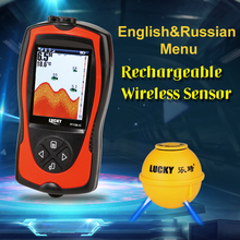 LUCKY FF1108 1CWLA Rechargeable Wireless Fish Finder font b Sonar b font Russian Language Sensor 45M