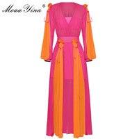 MoaaYina Fashion Designer Runway Dress Summer Women V collar Lantern Sleeve Pleated Casual holiday Parties Elegant Vintage Dress