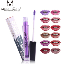 MISS ROSE 12 color metallic lip gloss slender tube liquid matte easy to stick cup waterproof sexy lustrous