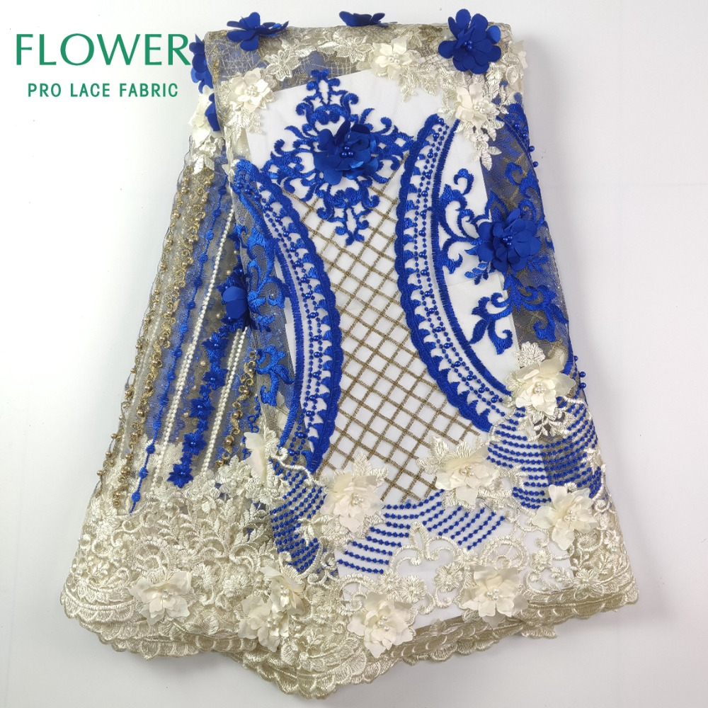 Royal Blue Beautiful Beads Lace Fabrics 3D Flower Aplique Embroidery Net Laces African Nigreian Party Dresses