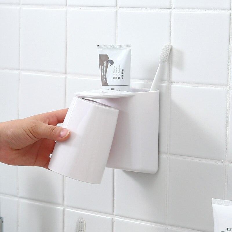 Korean Magnet Adsorb Toothbrush Holder Wash Cup Bathroom