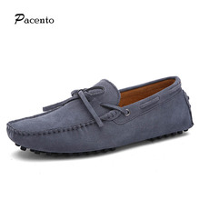 2016 PACENTO New Fashion Men's 100% Genuine Leather Handmade Driving Shoes Brand Design Boat Flats Loafers Shoes Mocassine Men