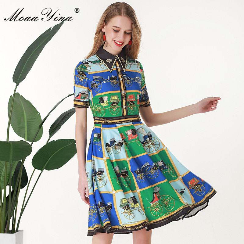 MoaaYina Fashion Designer 활주로 dress Summer Women Dress Short sleeve Turn down 칼라 구슬 Print 우아한 Slim 드레스-에서드레스부터 여성 의류 의  그룹 1