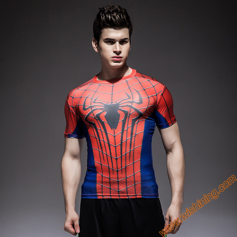 Compression Shirt  Spiderman T-shirts Mavel  Superhero fitness  t shirt black body building clothing for Mens