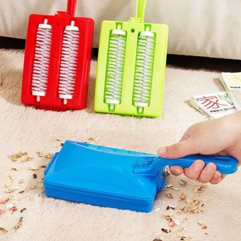 Color Random Double Home Cleaner Hand Held Carpet Table Sweeper Row Dust Brush Table Sweeper Dirt 1 Pc Carpet Brushes image