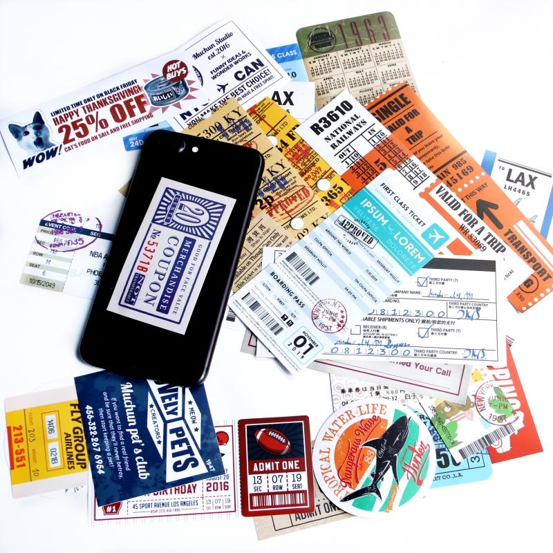 24 pcs Traveling Boarding Pass Air Tickets creative Suitcase stickers for Laptop Luggage Bags Bike Phone