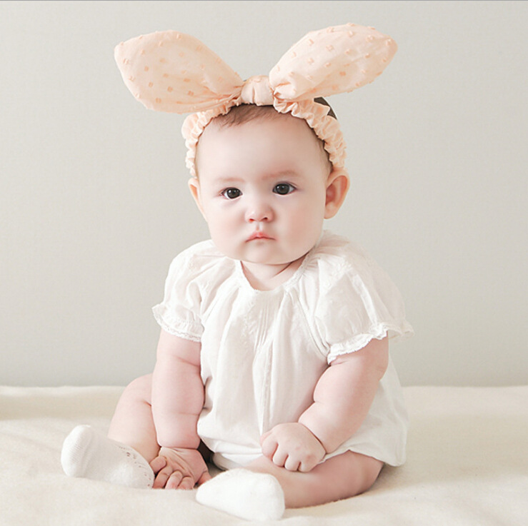 Korean Style Bebe Bunny Ears Headband Princess Lovely Pink Headbands Girls  Printed Hairband Rabbit Ear headwrap Kid Turband 00b5959ac45