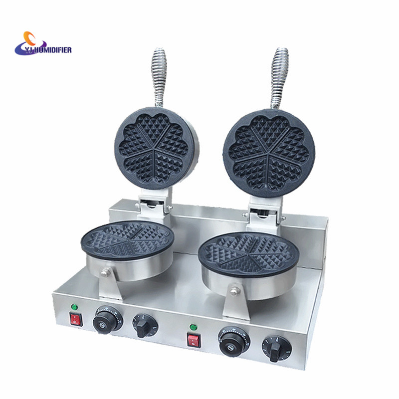 220V/110V Double headed heart shaped waffle machine heart - shaped Wo Fu cake waffle machine factory