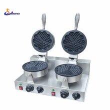 220V/110V Double headed heart shaped waffle machine heart – shaped Wo Fu cake waffle machine factory