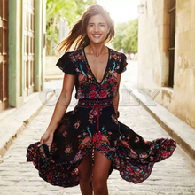 CUERLY 2019 New Women Summer Boho Beach Maxi Dress Sexy V Neck Vintage Print Long Dresses Casual Sundress