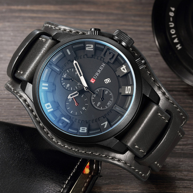 Mens Watches Fashion Luxury Brand CURREN Military Quartz Sports Mens Watch Casual Leather Wristwatches Male Clock Montre Homme