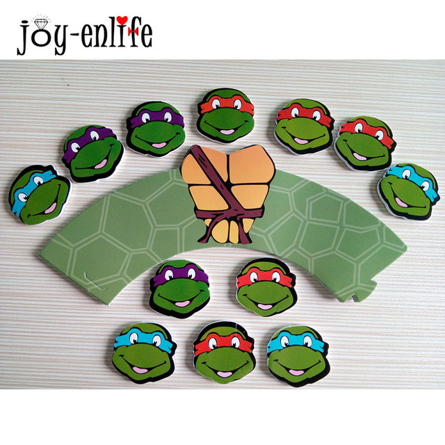JOY ENLIFE 12pcs Cupcake Wrappers12pcs Topper Teenage Mutant Ninja