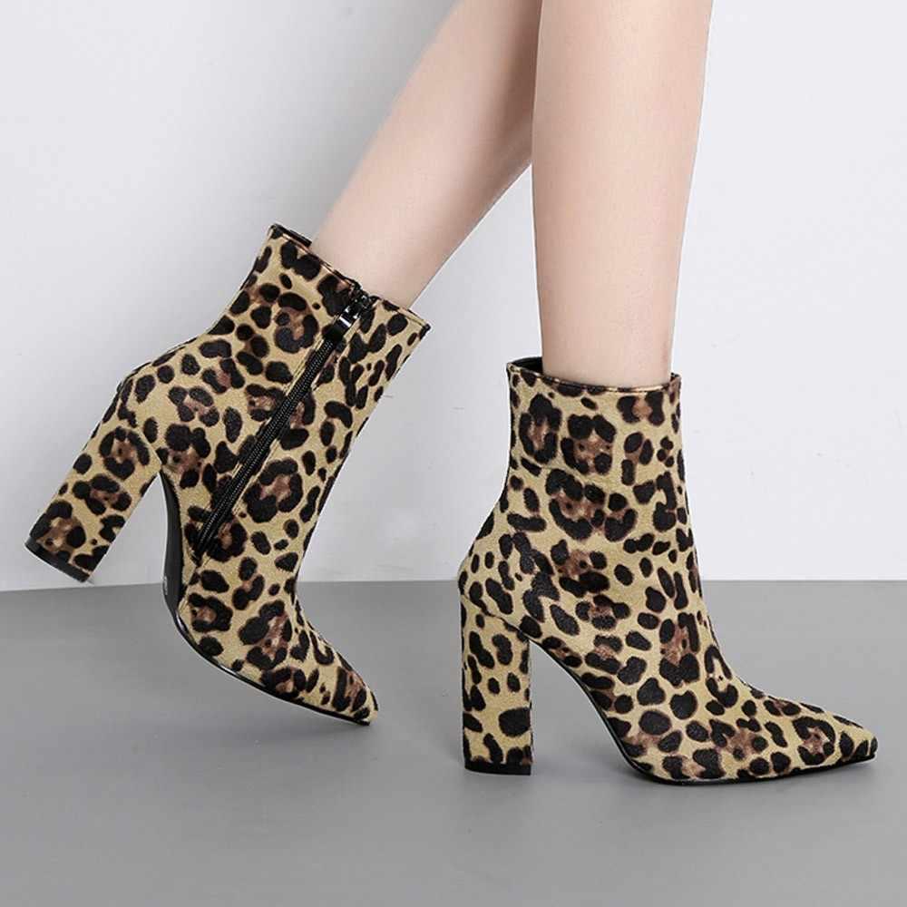 Kadın yarım çizmeler yeni leopar ayak Zip kalın sivri bot ayakkabı yüksek ayakkabı botları bottines femme 2018 nouveau