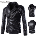Vogue Anmi.Men'S Jacket Motorcycle Jaqueta Male De Couro Masculino Men Leather Jacket Veste Cuir Homme Coat Sleeves Detachable