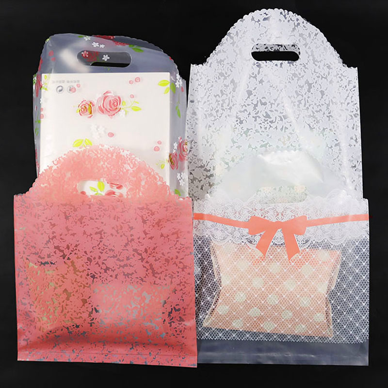 50pcs Lace Plastic Bag With Handle Shopping Bags Clothing Wrapping Boutique Gift Plastic Bag For Wedding Cookies Candy Bags