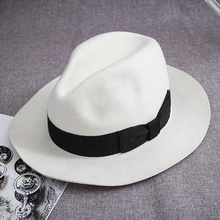 White Unisex Women Men's  Classic Wool  Felt Godfather Ganster Fedora Hat –  Black Bond
