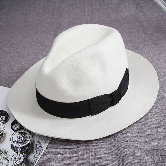 Online Shop Women Men s Classic Wool Felt White Godfather Gangster Fedora  Hat - Black Bond  8e24f6e51c5b