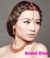Nuevos articulos Estilo Princesa India Plata Rojo y Plata Nupcial Tiaras Del Pelo accesorios para el Cabello de La Frente