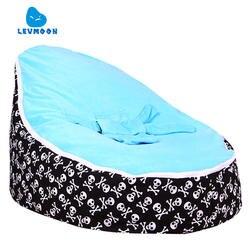 Levmoon Средний череп печати кресло мешок детская кровать для сна Портативный складной детского сиденья Диван Zac без наполнителя