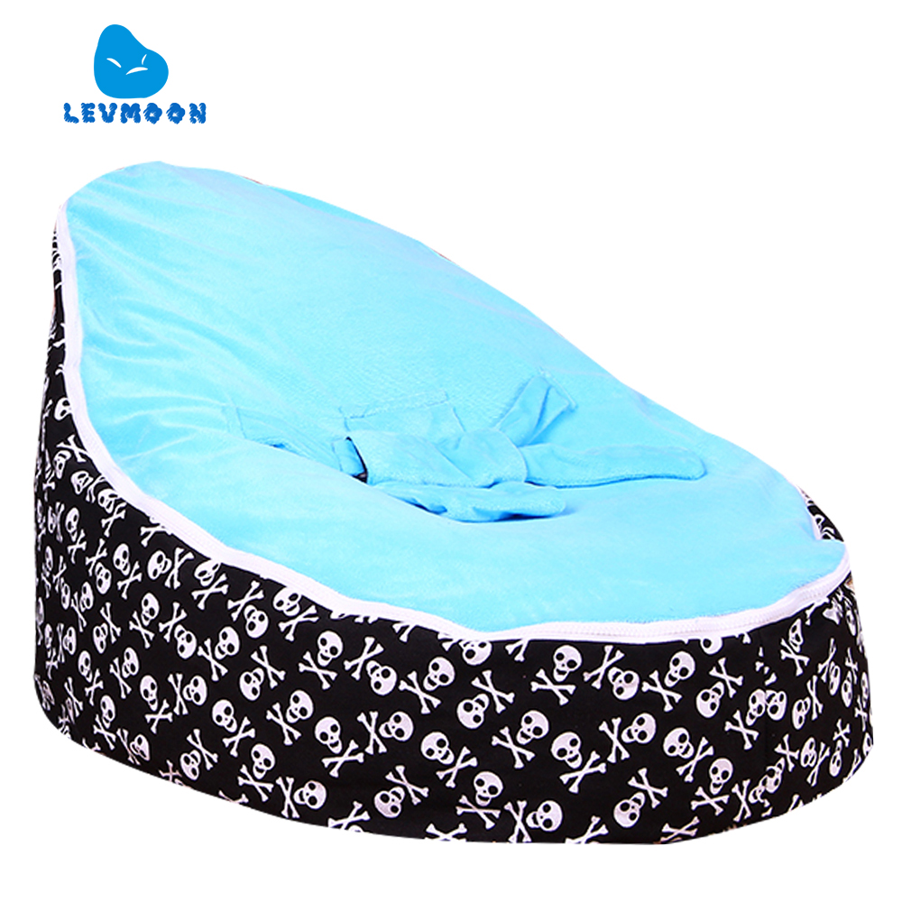 Levmoon Medium Skull Print Bean Bag Chair Kids Bed For Sleeping Portable Folding  Child Seat Sofa Zac Without The Filler
