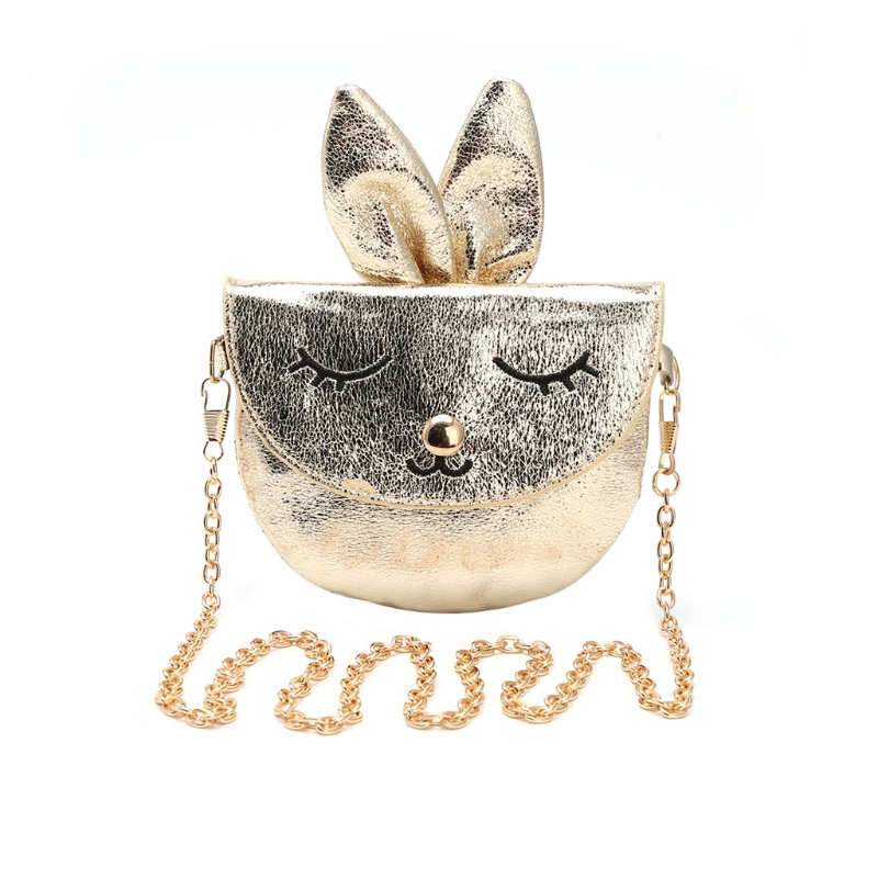 2017 New Style Kids Girls Rabbit Shoulder Messenger Bags Children Handbag Baby Metal Chain Faux Leather Animal Printing Bags thinkthendo new woven bags chain strap replacement for purse handbag shoulder bag accessories faux leather metal