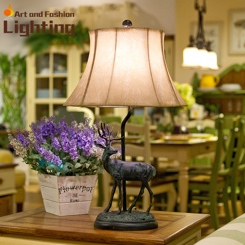 Hot Sale American Country Elk Carved Arts Table Lamp Modern Resin Bedside Living Room Artificial Leather