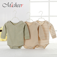 Spring & summer unisex baby clothes organic colored cotton baby climb clothes jumpsuits new colored triangle crawling garments