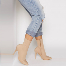 Fashion 2019 Blue Women Lycra Pointed Toe Elastic High Boots Slip On High Heel Ankle Boots Women Pumps Stiletto Botas Booties цена 2017