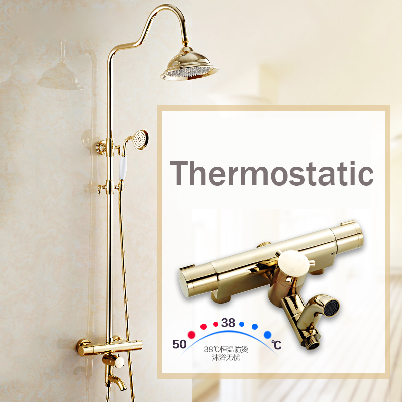 Newly Golden Thermostatic Shower Faucet Set Dual Handle Temperature Control  Shower Mixers With Hand Shower + Tub Spout In Shower Faucets From Home ...