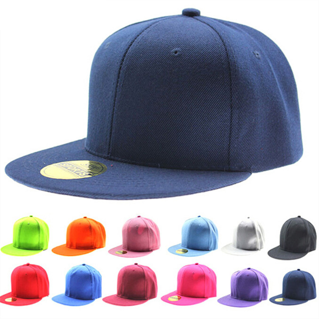 5b6d32181e22d8 Hot Sale Spring Summer Pure Color Caps Flat Hip Hop Style Hat Europe Style  Cowboy Hats Baseball Cap 15 Colors Adjustable