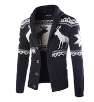 Hot Fashion Winter Men Christmas Sweater With Deer Pattern Cable Knit Crew Casual Cardigan Sweaters Mens