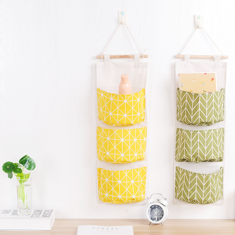 Online Shop 3 Pockets Cotton Fabric Wall Hanging Storage Bag ...