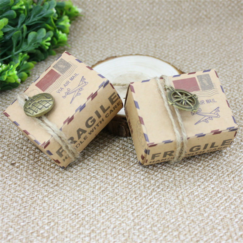 50pcs Vintage Kraft Paper Box Shabby Chic AIR MAIL Gift Candy Box Travel Wedding Decor Mariage Rustic Wedding Centerpieces